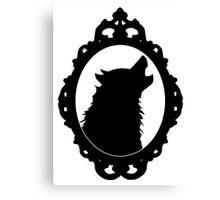 Halloween Art, Black Wolf Silhouette, Edgar Allan Poe, Wolfman, Werewolf, Horror Canvas Print