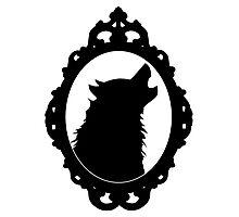Halloween Art, Black Wolf Silhouette, Edgar Allan Poe, Wolfman, Werewolf, Horror Photographic Print