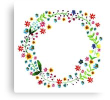 Water color floral wreath with meadow flowers. Floral frame, border. Canvas Print