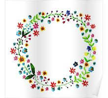 Water color floral wreath with meadow flowers. Floral frame, border. Poster