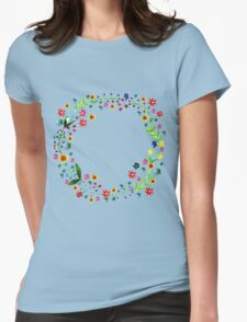 Water color floral wreath with meadow flowers. Floral frame, border. Womens Fitted T-Shirt