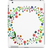 Water color floral wreath with meadow flowers. Floral frame, border. iPad Case/Skin