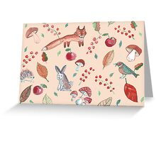 Hand drawn water color pattern with wild forest animals. Greeting Card