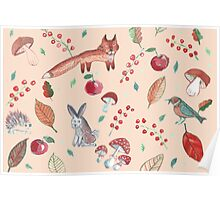 Hand drawn water color pattern with wild forest animals. Poster