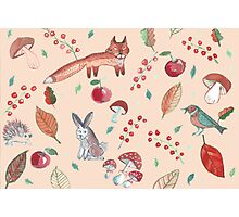 Hand drawn water color pattern with wild forest animals. Photographic Print
