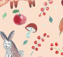 Hand drawn water color pattern with wild forest animals. Sticker