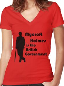 Mycroft Holmes, British Government (Black) Women's Fitted V-Neck T-Shirt