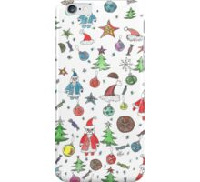 Water color hand drawn New Year set. Christmas character. iPhone Case/Skin