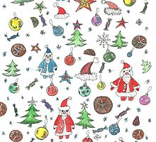 Water color hand drawn New Year set. Christmas character. by TrishaMcmillan
