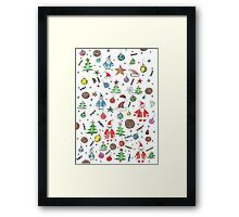 Water color hand drawn New Year set. Christmas character. Framed Print