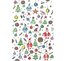 Water color hand drawn New Year set. Christmas character. Photographic Print