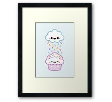 Cloud Peeing on Cupcake Framed Print