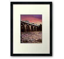 Fishing Under The Bridge Framed Print
