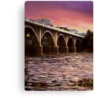Fishing Under The Bridge Canvas Print