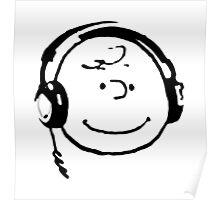 Charlie Brown Headphones Poster