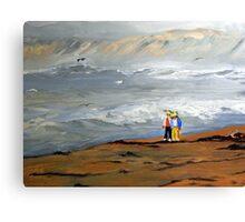 Surfs Up Couple Walk (Painting) Canvas Print
