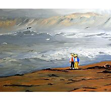 Surfs Up Couple Walk (Painting) Photographic Print