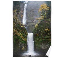 Beautiful Multnomah falls in Autum Poster
