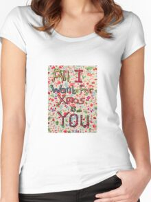Christmas lyric collage Women's Fitted Scoop T-Shirt