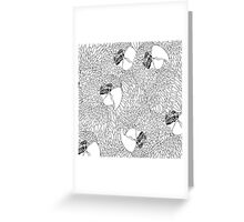 Parrot Pattern B/W Colour In Version Greeting Card