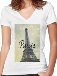 Paris Typography Eiffel Tower Women's Fitted V-Neck T-Shirt