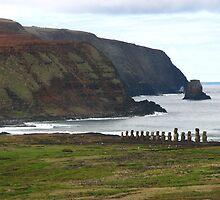 Moai and countryside at Ahu Tongariki by jmccabephoto