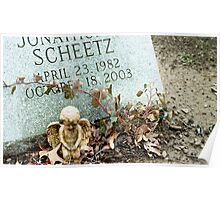 Angel Figurine and Grave Stone Poster