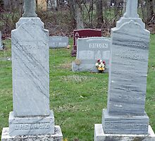 Twin Grave Stones and Trash by Robert Noll