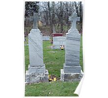 Twin Grave Stones and Trash Poster