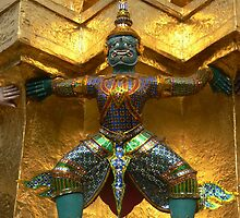 Devil statue at Wat Phra Kaew by jmccabephoto