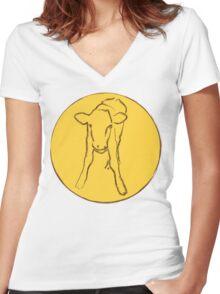 Cute Calf Women's Fitted V-Neck T-Shirt