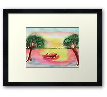 Lovely morning sunrise,  finished, watercolor Framed Print