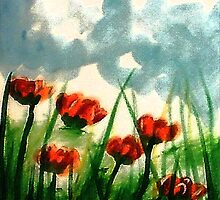 Pink Poppies on a cloudy day, watercolor by Anna  Lewis