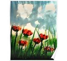 Pink Poppies on a cloudy day, watercolor Poster