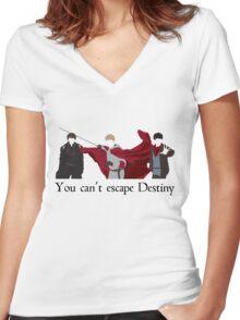 Mordred, Arthur, and Merlin.  Women's Fitted V-Neck T-Shirt