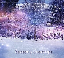 Magical Snow Scene (with greeting) by Brenda Anderson