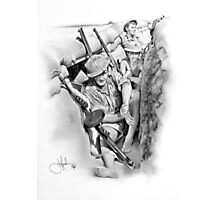 ANZAC Aussie Diggers WW2 drawing Photographic Print
