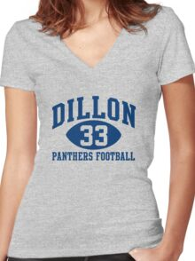 Dillon Panthers Football #33 Women's Fitted V-Neck T-Shirt