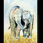 Calf elephants iphone by Sue Nichol