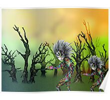 Pencil and Pen drawing Forest Creatures Poster
