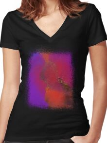 Sea of Rainbow Clouds Women's Fitted V-Neck T-Shirt