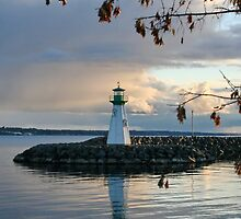 Sunset Lighthouse in the Fall on Lake Ontario by AnnDixon