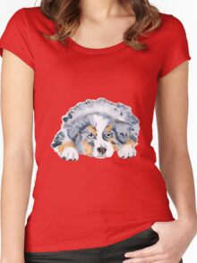 Australian Shepherd Blue Merle Puppy Women's Fitted Scoop T-Shirt