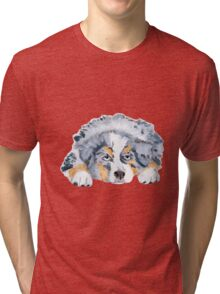 Australian Shepherd Blue Merle Puppy Tri-blend T-Shirt