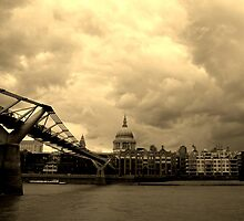 St Paul's Cathedral and the Millennium Bridge, London by danbullock