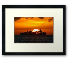 Ocean Liner at sunset Framed Print