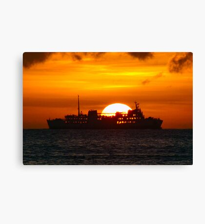 Ocean Liner at sunset Canvas Print