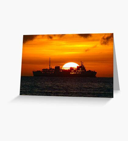 Ocean Liner at sunset Greeting Card