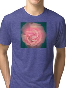 Pink with Teal Rose Tri-blend T-Shirt