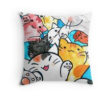 Manga cats conquer the world Throw Pillow